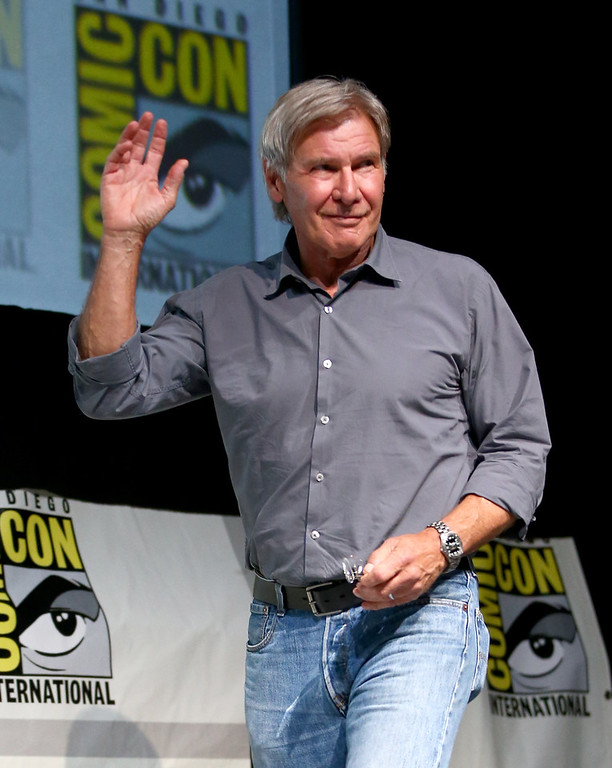 """. Actor Harrison Ford onstage at the \""""Ender\'s Game\"""" press conference during Comic-Con International 2013 at San Diego Convention Center on July 18, 2013 in San Diego, California.  (Photo by Joe Scarnici/Getty Images for Summit Entertainment)"""