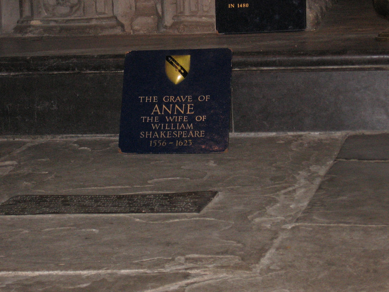 Anne Hathaway's grave Holy Trinity Church, Stratford-on-Avon