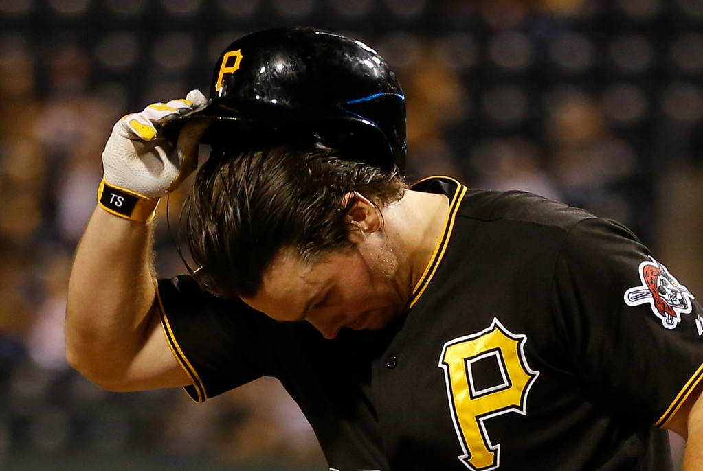 . Pittsburgh Pirates\' Travis Snider bats in the eighth inning in the baseball game against the Detroit Tigerson Tuesday, Aug. 12, 2014, in Pittsburgh. (AP Photo/Keith Srakocic)