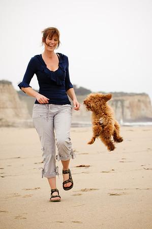 "Cindy and her Labradoodle ""Griffin"" - Pet Photography, 4-Mile Beach, Santa Cruz, California"