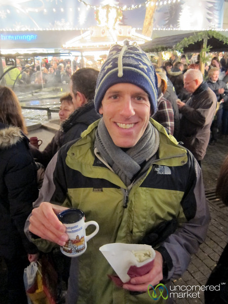 Dan Enjoying a Maultashchen (Swabian Ravioli) at the Stuttgart Christmas Market
