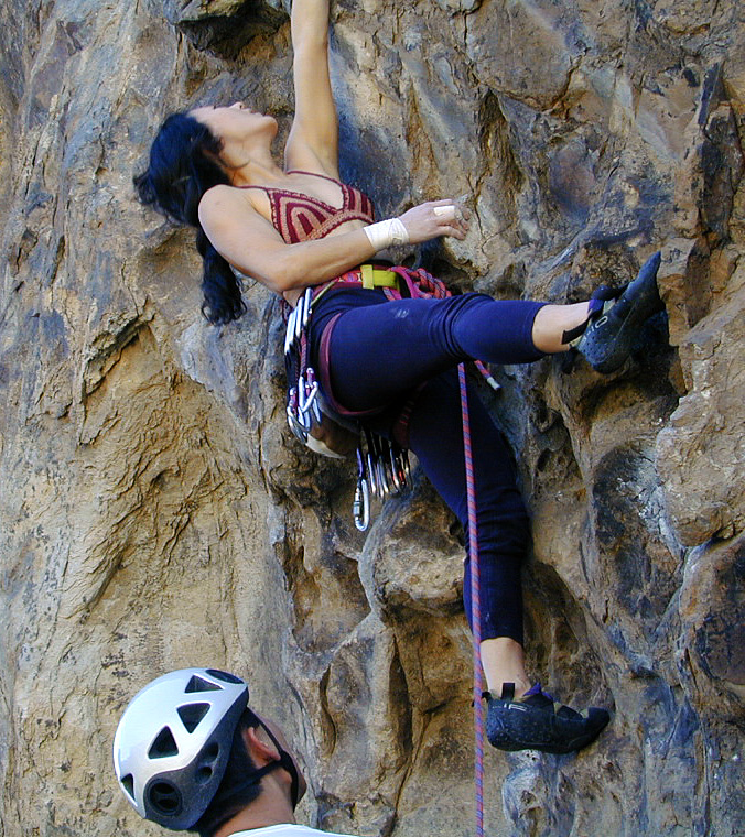 Meg working the crux The Scene is Not For Sale, 511a Crossfire Crag, New Jack City