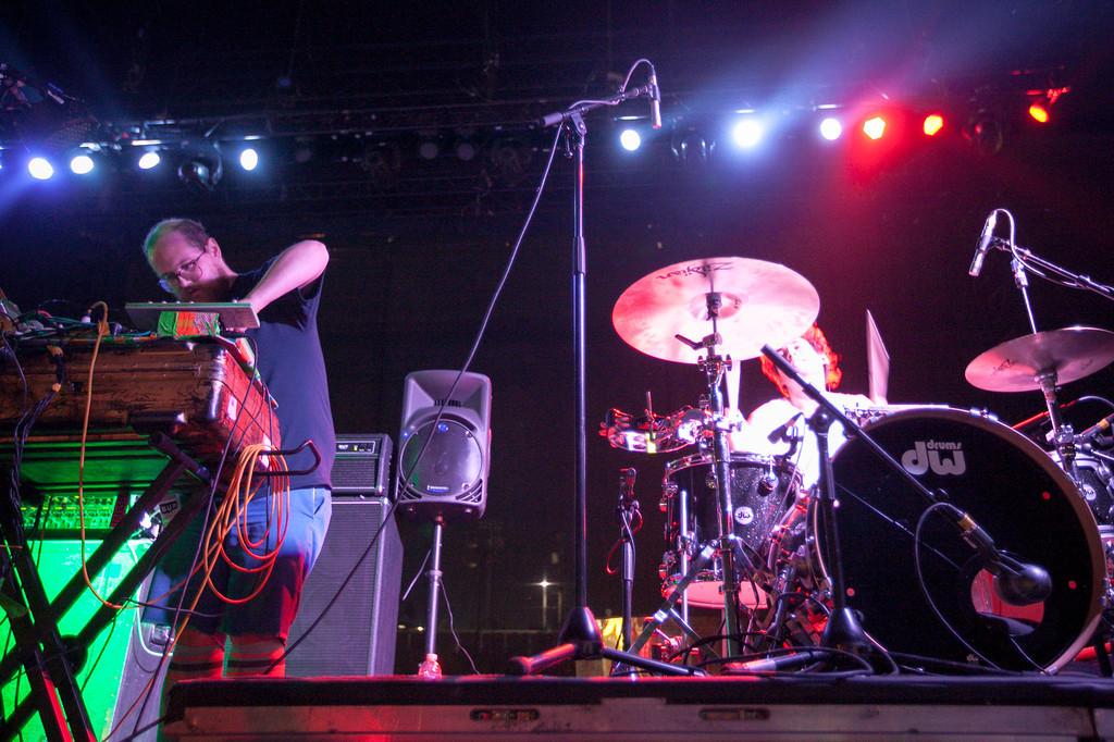 . Dan Deacon, left, with drummer Jeremy Hyman at FYF Fest in downtown L.A., Saturday, August 24, 2013. (Michael Owen Baker/L.A. Daily News)
