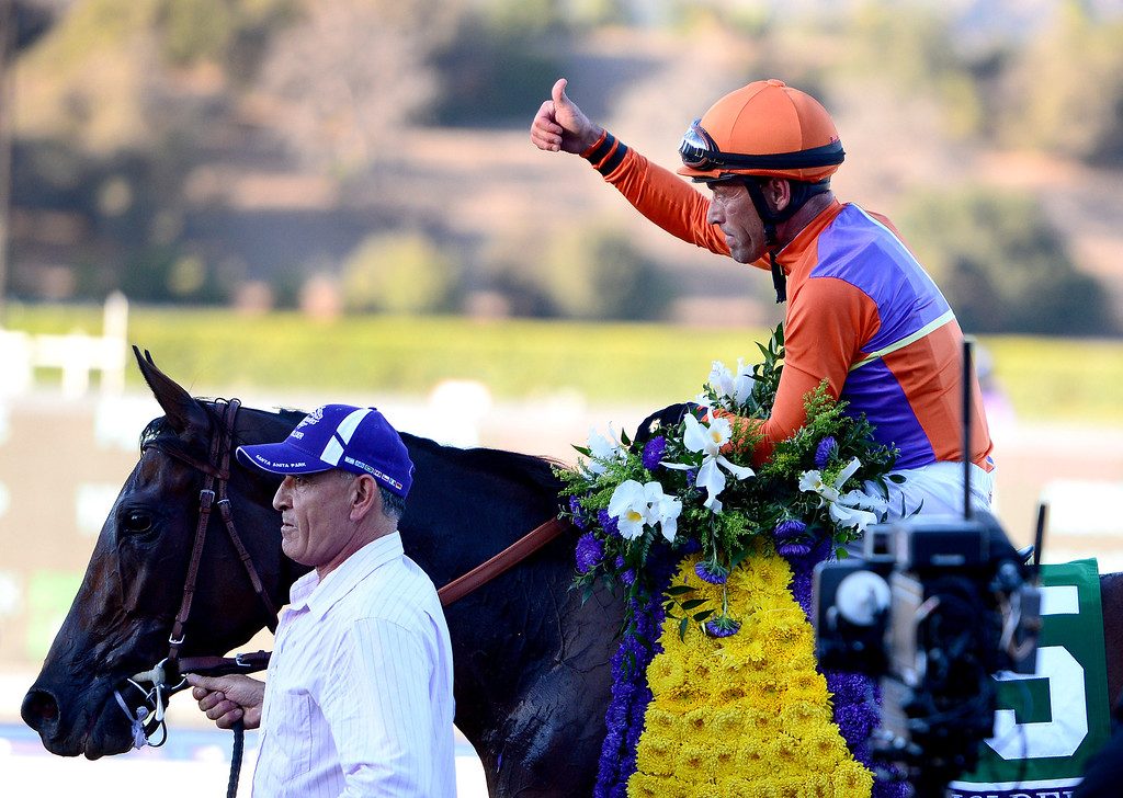 . Gary Stevens on Beholder wins the $2 million Breeders\' Cup Distaff race at the Breeders\' Cup at Santa Anita Park in Arcadia Friday, November 1, 2013. (Photo by Sarah Reingewirtz/Pasadena Star-News)