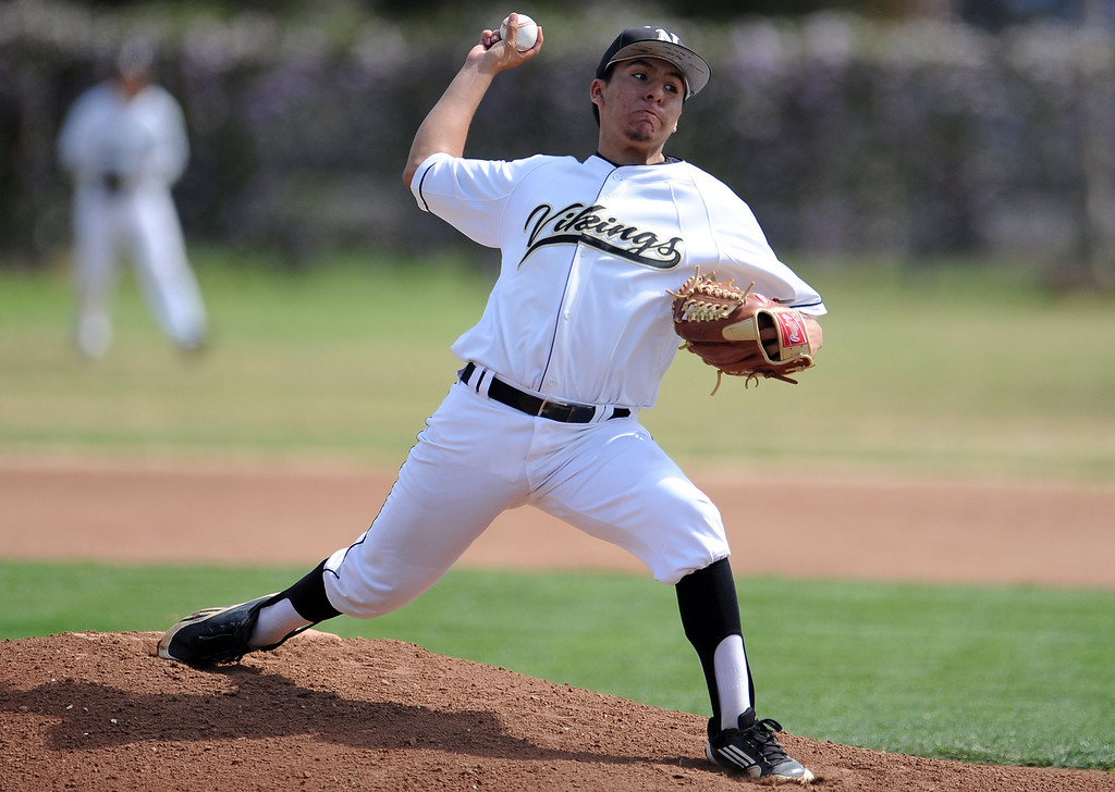 . Northview starting pitcher Niko Castaneda throws to the plate in the first inning of a prep baseball game against Baldwin Park at Northview High School on Tuesday, April 23, 2012 in Covina, Calif. Northview won 8-2.    (Keith Birmingham/Pasadena Star-News)