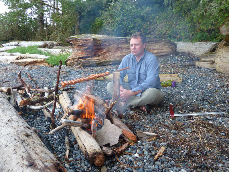 Kirk tends the fire