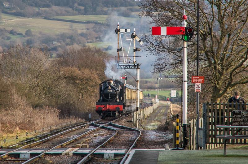 7820 'Dinmore Manor' arrives at Cheltenham Racecourse