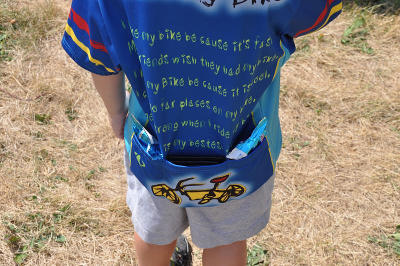 Everett's bike jersey pockets