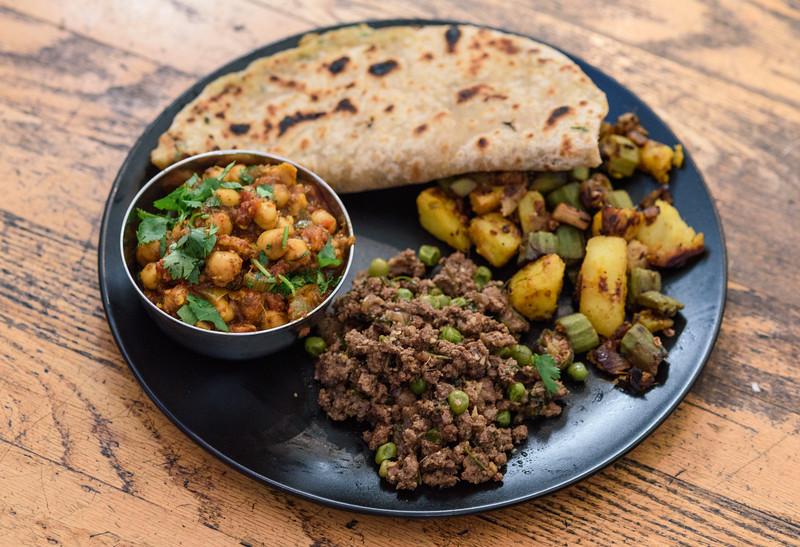 Channa Masala with ground beef, okra and potatoes, and fresh Paratha