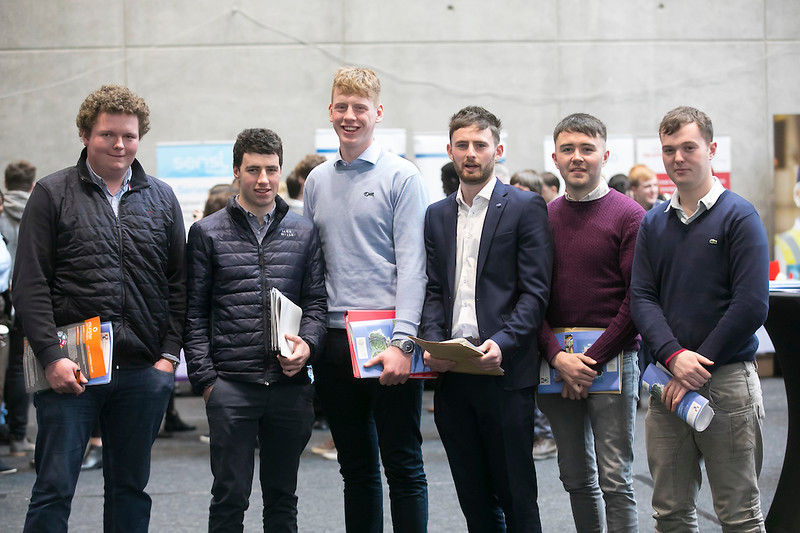 09/03/2019. Pictured at the Waterford Institute of Technology Science Careers Day.  Pictured are Niall O'Connell Bansha, Michael Pat O'Niell, Cappawhite, Michael Doughan from Cloughjordan, Ivan Brett Cloneen, Martin Delaney Clonmore and Paul Kennedy Ballyingarry. Picture: Patrick Browne