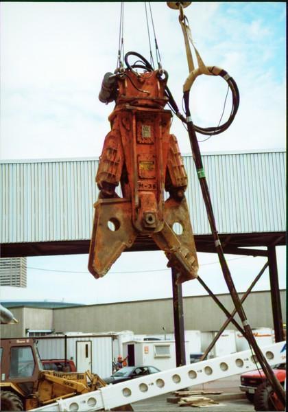 NPK M38G concrete pulverizer on crane-commerical demolition-Buffalo 7-8-00 (4).JPG