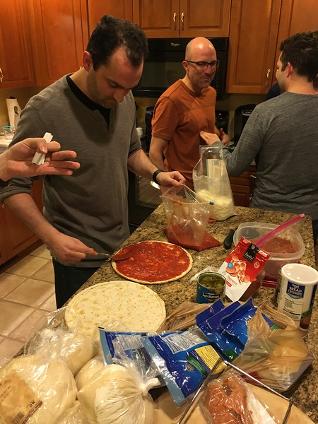 Dinner time - the master pizza chef at work.