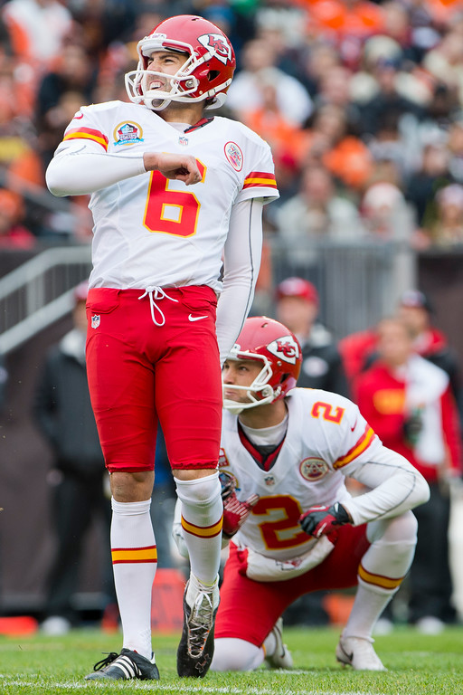 . CLEVELAND, OH - DECEMBER 09: Kicker Ryan Succop #6 of the Kansas City Chiefs reacts as he misses a filed goal during the first half against the Cleveland Browns at Cleveland Browns Stadium on December 9, 2012 in Cleveland, Ohio. (Photo by Jason Miller/Getty Images)