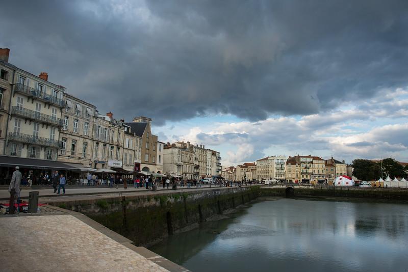 Cafes along marina in La Rochelle