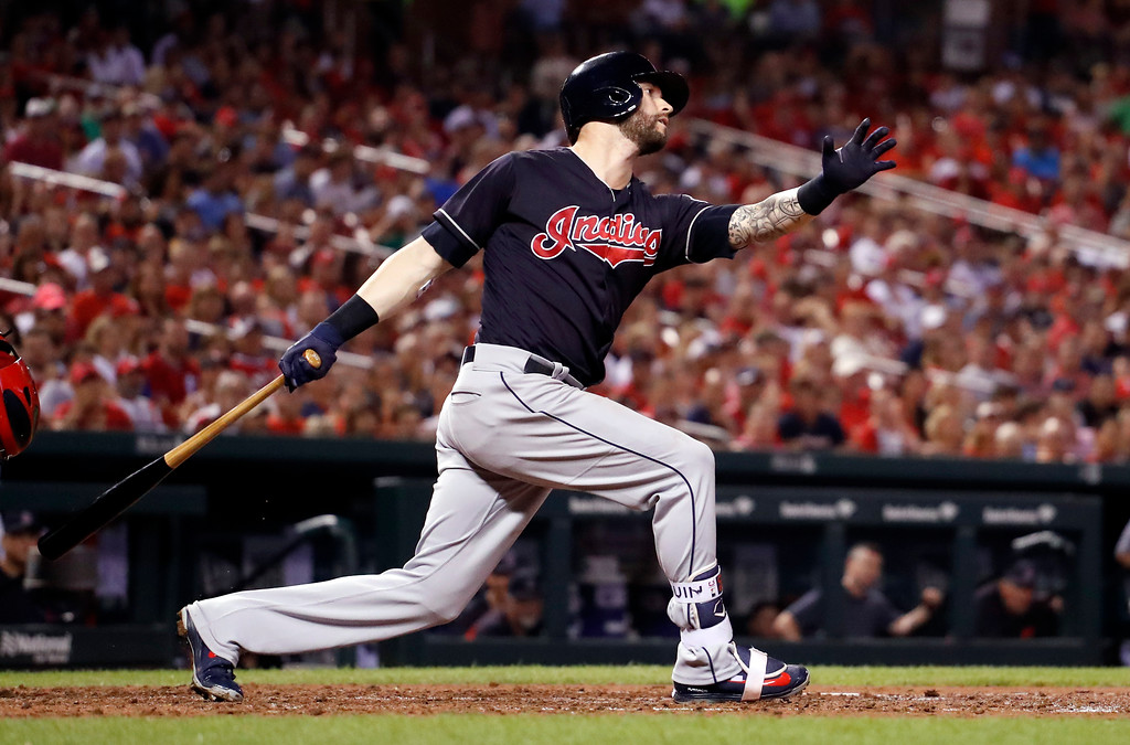 . Cleveland Indians\' Tyler Naquin strikes out swinging to end the top of the fourth inning of a baseball game against the St. Louis Cardinals Monday, June 25, 2018, in St. Louis. (AP Photo/Jeff Roberson)