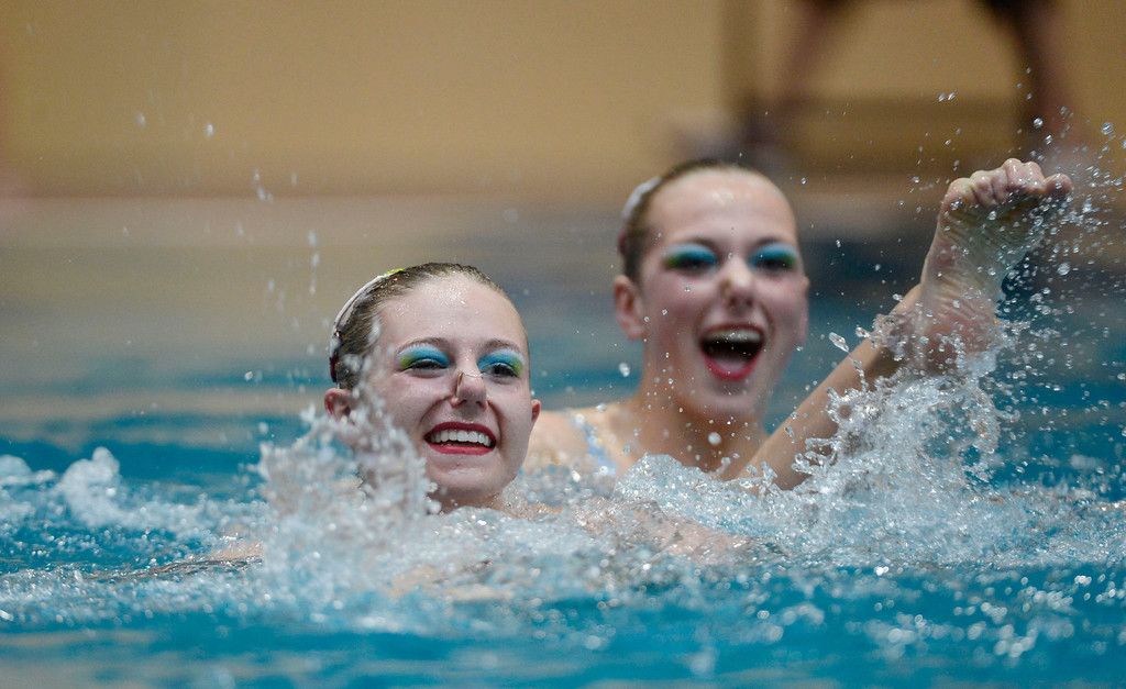 . THORNTON, CO. - MARCH 10: Minnesota Synduet team Madeline Carlson and Amanda Urke perform during the duet free at The Rocky Mountain Synchronized Swimming North Zones Championships  March 10, 2013 at Veterans Memorial Aquatic Center. (Photo By John Leyba/The Denver Post)