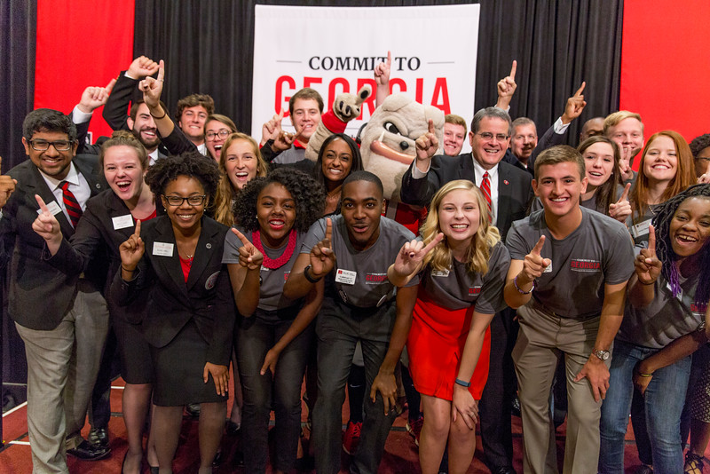 Description: Students with President Jere Morehead, Kelly Kerner, and Hairy Dawg at the Capital Campaign Kickoff at the Tate Grand Hall on November, 10, 2016.