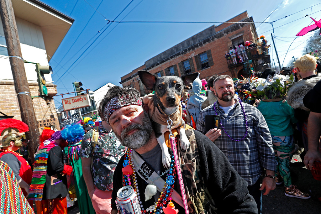 . A man walks with his dog during the Society de Sainte Anne parade, on Mardi Gras day in New Orleans, Tuesday, Feb. 13, 2018. (AP Photo/Gerald Herbert)