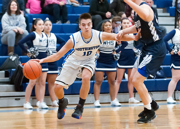 12/14/18 Wesley Bunnell | Staff Southington High School basketball vs Wethersfield on Friday night at Southington High School. Jared Kelly (10).
