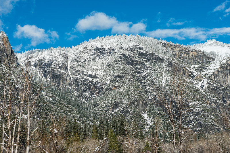 More snow on the cliffs in Yosemite