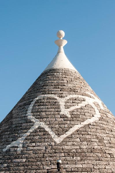 Conical Trullo Roof with Heart Symbol, Alberobello Trulli District, Puglia, Italy