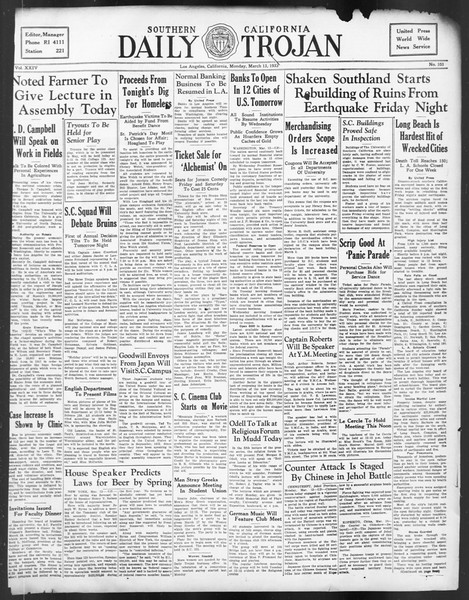 Daily Trojan, Vol. 24, No. 103, March 13, 1933