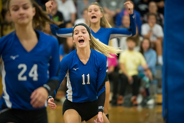 10/08/19 Wesley Bunnell | StaffrrBristol Eastern girls volleyball hosted Bristol Central on Tuesday night. BE's Ryley Plourde (11) celebrates a point along with her teammates.