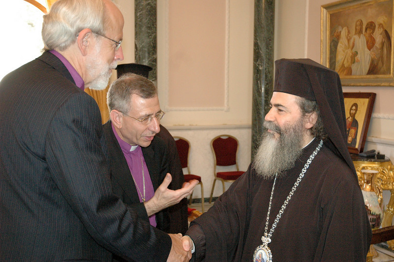Dr. Ishmael Noko, LWF general secretary, Bishop Mark Hanson, ELCA presiding bishop and LWF president, and Bishop Munib Younan, LWF vice president, met Sept. 2 with the newly elected Greek Orthodox Patriarch of Jerusalem, His Beatitude Theophilus III in the Old City of Jerusalem.  Theophilus III was elected to his new post Aug. 22.