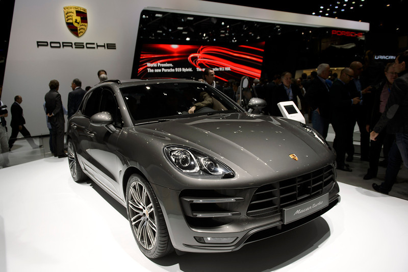 . The new  Porsche Macan  is on display during the press day at the 84.  Geneva International Motor Show in Geneva, Switzerland, Tuesday, March 4, 2014.  (AP Photo/Keystone,Martial Trezzini)