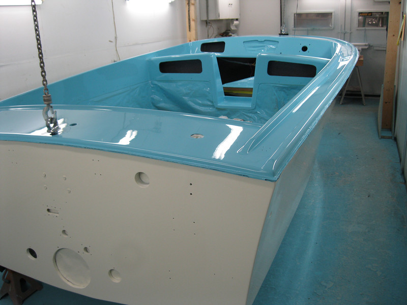 Rear starboard view of buffing completed and hull unmasked.