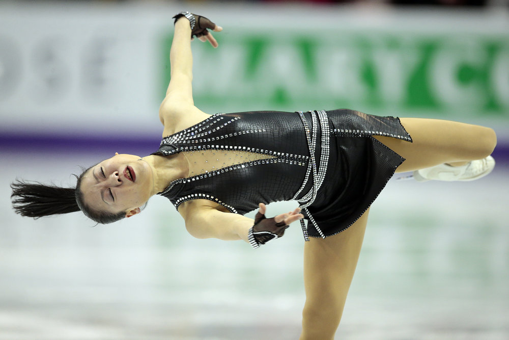 . Akiko Suzuki of Japan skates her short program in the women\'s competition at the 2013 World Figure Skating Championships in London, Ontario, March 14, 2013.   GEOFF ROBINS/AFP/Getty Images