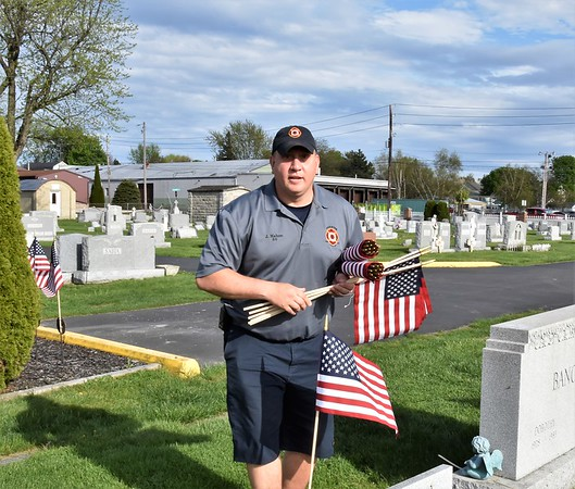 HFD HTFD putting flags on vets graves 5-11-18