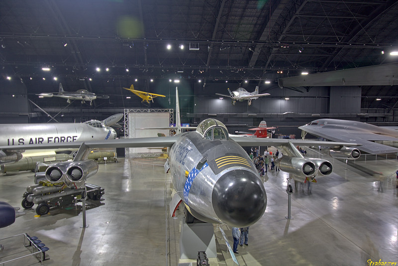 """National Museum of the United States Air Force, Dayton, Ohio,   04/13/2019  Overview of the """"Cold War"""" gallery   Boeing RB-47H-1-BW Stratojet c/n 4501323 53-4299 .     Northrop B-2 Spirit.   Northrop  F-89J Scorpion c/n N405  52-1911  This work is licensed under a Creative Commons Attribution- NonCommercial 4.0 International License."""