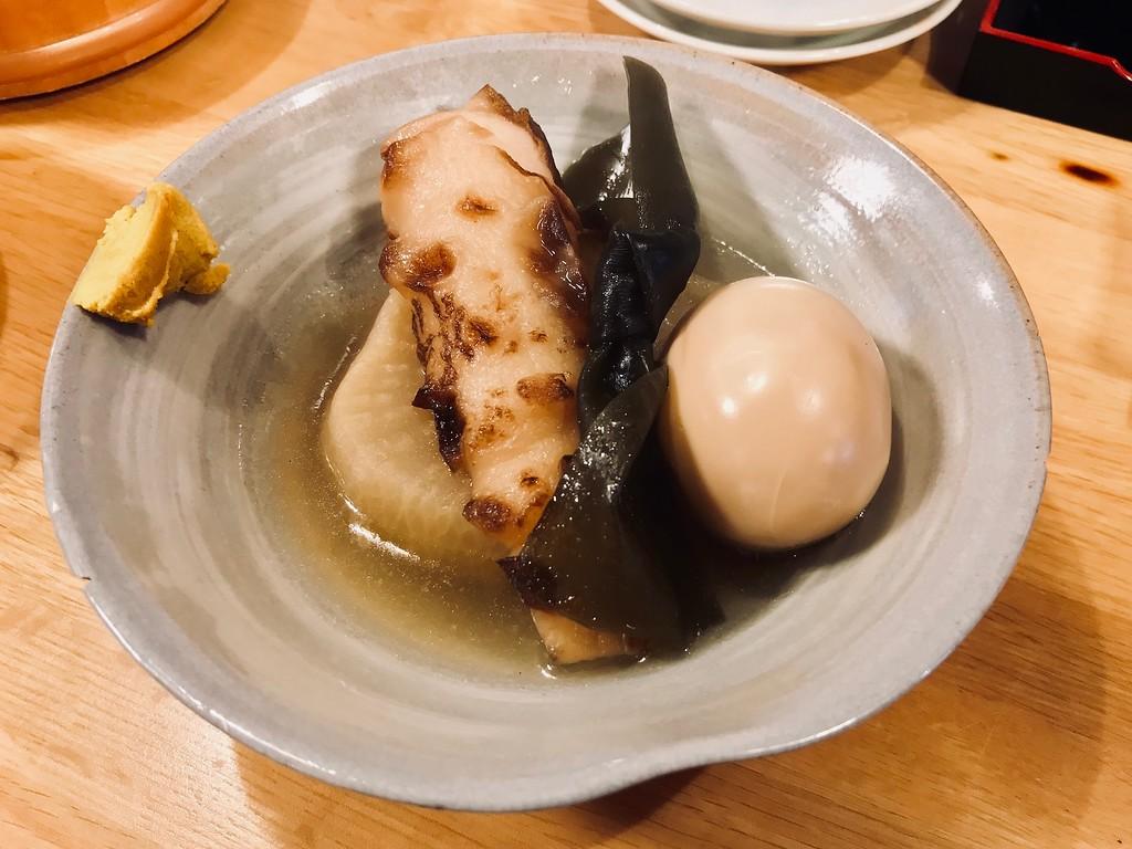 Oden - a hard-boiled egg, kelp, daikon, and chikuwa (fishcake).