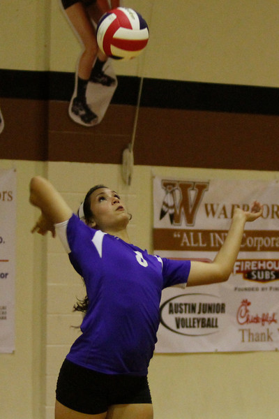 Pflugerville's Haleigh Fisher serves against Westwood on Tuesday at Westwood High School.