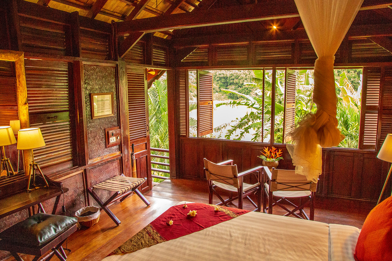 Our Room at Luang Say Lodge on the Mekong River in Pakbeng, Laos