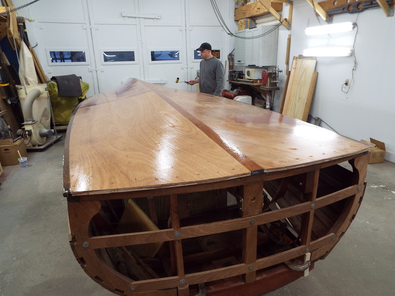 Rear view with the third coat being applied.
