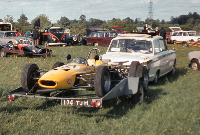 Ian's 1964 Lotus Cortina with Andy's Dulon Formula Ford in tow
