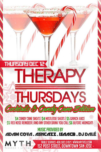 "Therapy Thursdays ""Cocktails & Candy Cane Edition"" @ Myth Taverna & Lounge 12.12.13"