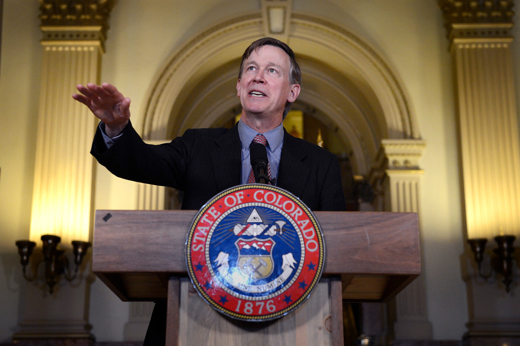 """. DENVER, CO. - MAY 21: Gov. John Hickenlooper  address the crowd during a press conference at the capitol in Denver, CO May 21, 2013. Hickenlooper issued an executive order granting convicted killer Nathan Dunlap a \""""temporary reprieve\"""" from an execution that had been just three months away. (Photo By Craig F. Walker/The Denver Post)"""