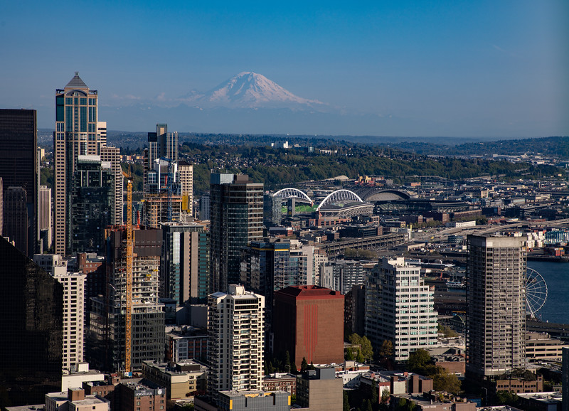 Mt. Rainier towers over downtown Seattle