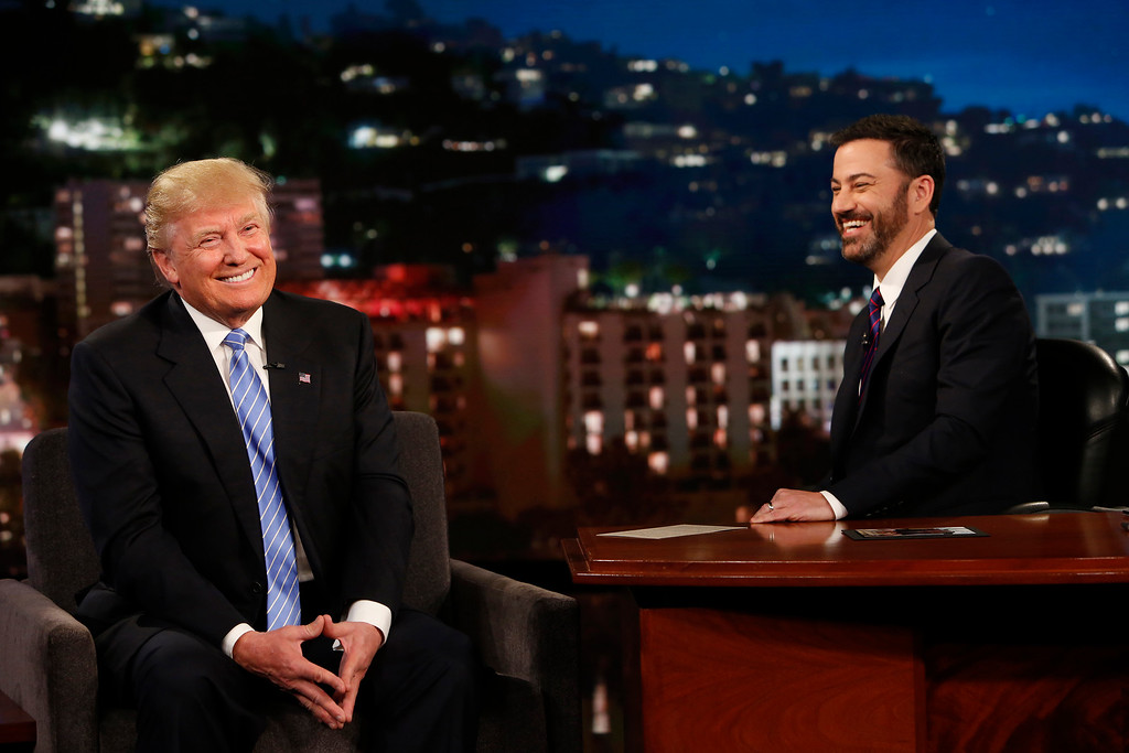 ". In this photo provided by ABC, Republican presidential candidate, Donald Trump, left, talks with host Jimmy Kimmel during a taping of the ABC television show, ""Jimmy Kimmel Live!,� on Wednesday, May 25, 2016, in Los Angeles. Trump made an appearance as a guest, along with musical guest Greg Porter on the late night show, which airs every weeknight at 11:35 p.m. EST. (Randy Holmes/ABC via AP)"