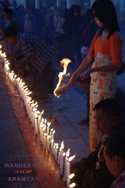 More candles and incense at Mt. Kyaiktiyo.