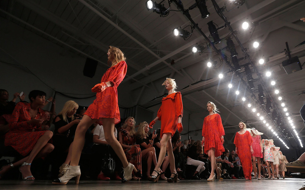 . Models walk the runway during the Ivana Helsinki fashion show during Mercedes-Benz Fashion Week Spring 2014 at Pier 59 on September 4, 2013 in New York City.  (Photo by Jemal Countess/Getty Images)