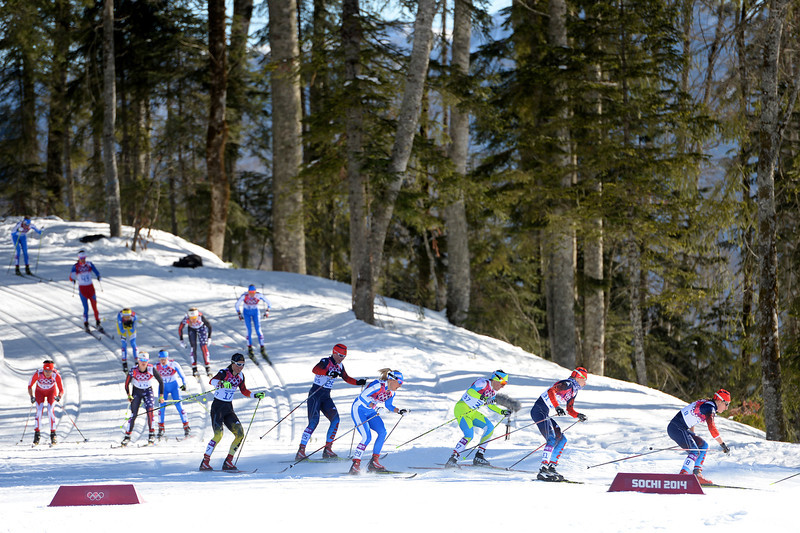 . Cross-Country skiers compete in the Ladies\' Skiathlon 7.5 km Classic + 7.5 km Free during day one of the Sochi 2014 Winter Olympics at Laura Cross-country Ski & Biathlon Center on February 8, 2014 in Sochi, Russia.  (Photo by Harry How/Getty Images)