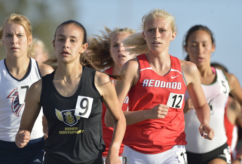 . NORWALK, CALIF. USA -- Redondo Union\'s Kayla Ferron competes in the 1600 meter race during the CIF-SS Masters Track and Field Meet in Norwalk, Calif., on Friday, May 24, 2013. Photo by Jeff Gritchen / Los Angeles Newspaper Group