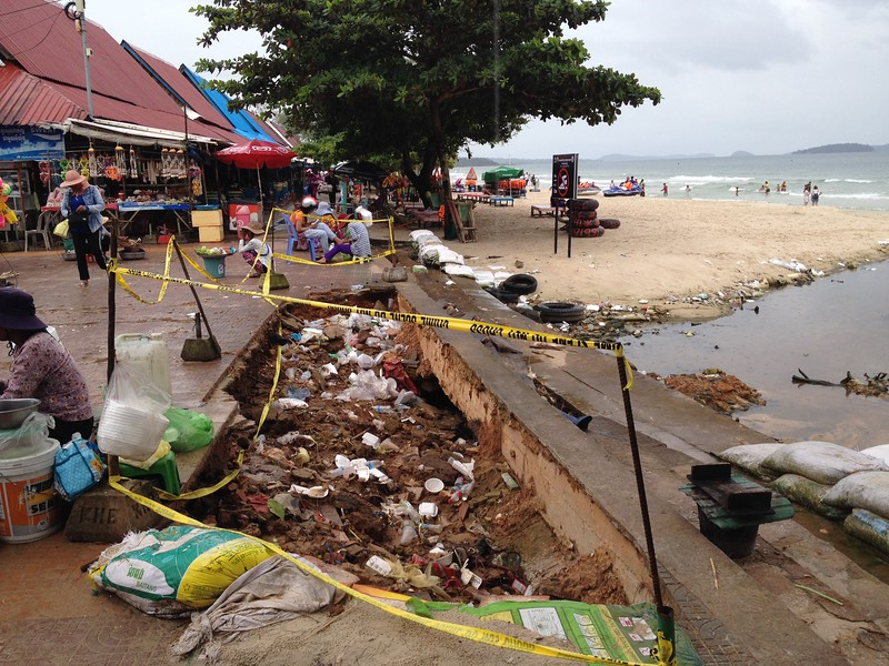 Beach filled with garbage in Sihanoukville, Cambodia.
