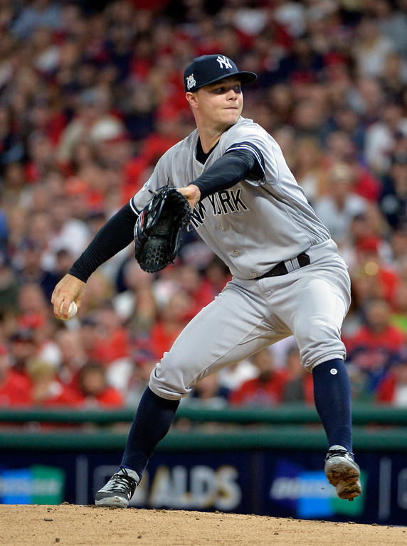 . New York Yankees starting pitcher Sonny Gray delivers during the first inning of Game 1 of a baseball American League Division Series against the Cleveland Indians, Thursday, Oct. 5, 2017, in Cleveland. (AP Photo/Phil Long)