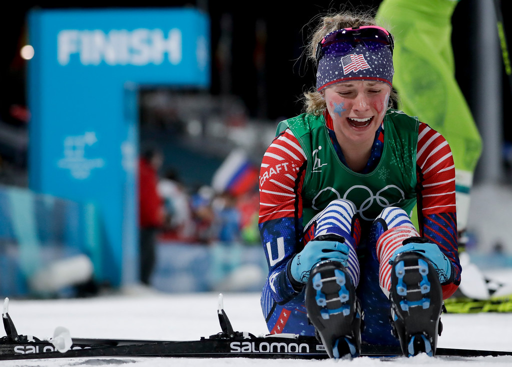 . Jessica Diggins, of the United States, celebrates after winning the gold medal in the during women\'s team sprint freestyle cross-country skiing final at the 2018 Winter Olympics in Pyeongchang, South Korea, Wednesday, Feb. 21, 2018. (AP Photo/Matthias Schrader)