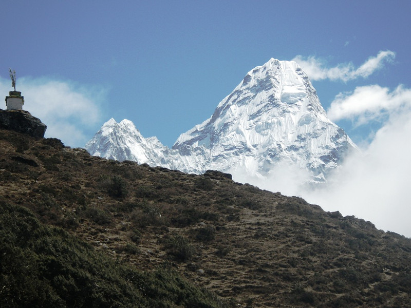 Closer view towards Ama Dablam (22,493ft = 6,856m). Dablam glacier has different formation than in 2007 when I climbed it.